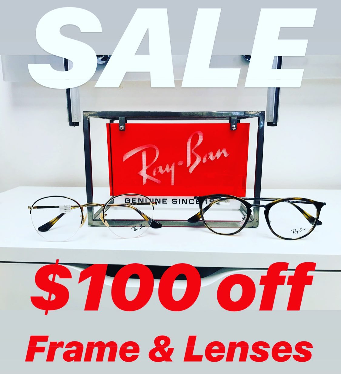 Winter Sale: $100 off when you purchase a new frame and lenses at both our locations. Sale ends on January 31st 2020. #glasses #sale #guelph #eyeexam #sunglasses