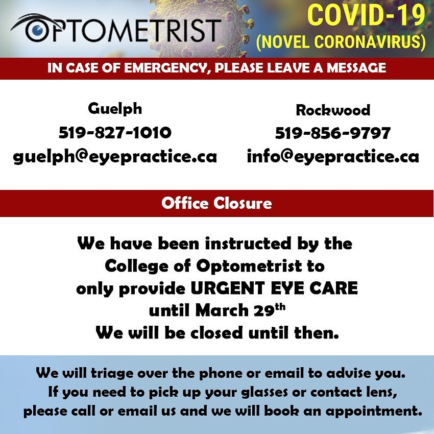 We have been instructed by the College of Optometrist to close all Optometry office and only provide urgent care. This is aimed at reducing the spread of COVID-19 and support the social distancing. If you have an ocular emergency please leave a voicemail at the office or send us an email. We will try and respond to you as soon as possible. Thank you for your understanding and lets do our part to flatten the curve. Dr. Parthipan & team #officeclosure #covid_19